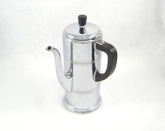Vintage Chrome Coffee Pot with Bakelite Handle by Farber Brothers Krome Kraft
