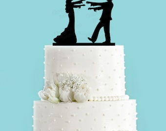 Zombie Bride and Groom Cake Topper, Halloween Themed Wedding Cake Topper
