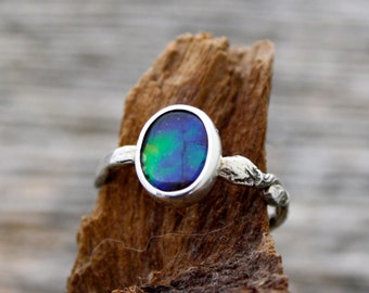 Blue Ammolite Ring stackable branch twig tree ring, canadian ammolite, ammonite, rainbow ammolite, branch band, vine ring, twig engagement