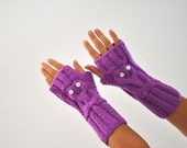 Purple Gloves Armwarmers Fingerless Owl Gloves Knit Mittens Winter Gloves
