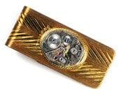 Steampunk Vintage Helbros Watch Movement Brass Money Clip