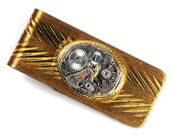 Steampunk Vintage Helbros Watch Movement Brass Money Clip