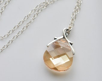 Bridesmaid Jewelry Crystal Golden Shadow Wedding Necklace in Silver