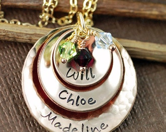 Hand Stamped Necklace, 14kt Gold Filled Necklace. Personalized Mothers Necklace, Gift for Mom, Mothers day gift, Personalized name Necklace