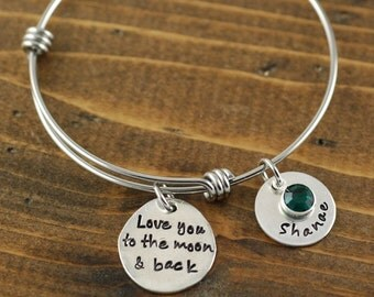 Personalized Bangle Bracelet, Love you to the moon and back Bracelet - Silver Bangle Charm Bracelet - Name Bracelet