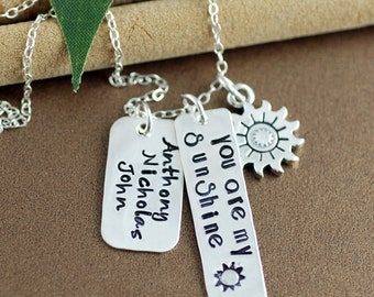 You are my Sunshine Necklace | Personalized Mommy Jewelry | Family Necklace | Hand Stamped Jewelry | Gift for Mom | Name Jewelry