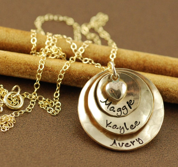 Mommy necklace hand stamped necklace 14kt gold filled for How do you make hand stamped jewelry