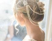 Pearl bridal hair chain, Vintage Style Bridal Hair Wrap, Wedding Pearl Draped Hair Comb, Pearl Hair Accessory, Vintage Halo  - 'ANA'