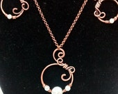 Beautiful antique copper and pearl necklace and earring Set.