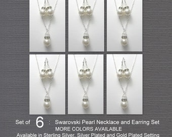Set of 6 Bridesmaid Jewelry Set, Swarovski White Pearl Bridal Jewelry Set, Bridesmaid Gift Set of 6, Wedding Jewelry Set, Maid of Honor Gift