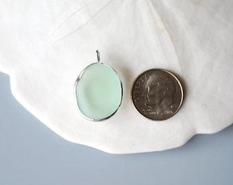 Sea Foam Pendant - Genuine Sea glass, Seaglass - 999 Fine silver bezel - Rimmed - Aqua Green - Aqua Blue