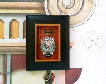 White Buffalo Bison Spirit Animal Mixed Media Assemblage Miniature Art