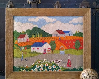 Vintage Framed Needlepoint Country House Farm Landscape Barn Wood Frame