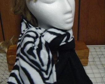 Black and White Zebra Fleece Neck Scarf
