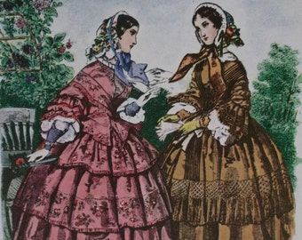 Beautiful Victorian Ladies-1800's Fashion Hoop Dresses-Ruffles-Colorful Artist Signed Litho Print