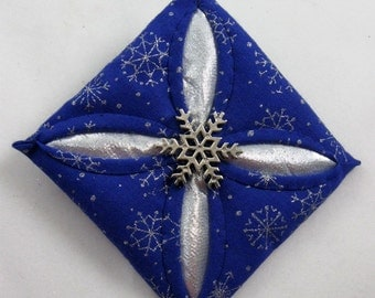Blue and  Silver Cathedral Window Quilted Christmas Ornament 125