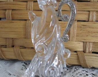 Praying Angel Figurine Solid Crystal~Ornate Rhinestone Wings  Germany