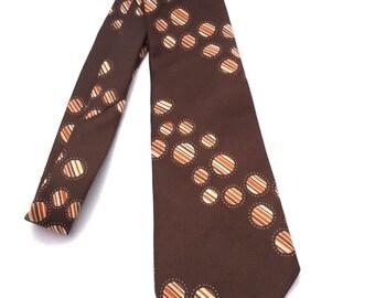 Vintage 60s BROWN and ORANGE Mens Necktie