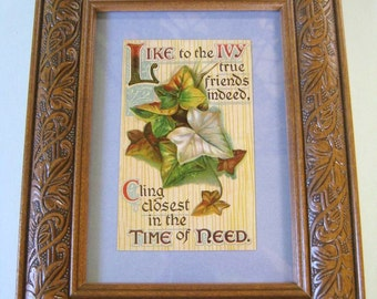 Mission Craftsman Decor Vintage Postcard Framed Arts and Crafts Era Art Nouveau Ivy