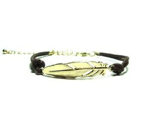 Gold Feather Charm Bracelet - Brown Irish Waxed Linen Charm Bracelet -14K Gold Plated  Charm - Stacking Bracelet