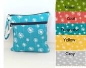 You pick color  Dandelion Double Wet Bag, Wet bag with 2 zippered pockets, cloth diaper bag, swimsuit bag, kitchen wet bag