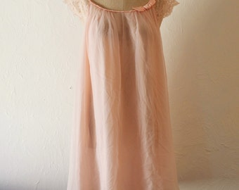 Chiffon Pink Nightie • Pink Bow Lace Boudoir Nightgown • Mini Gown