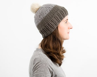 READY TO SHIP - Colorblock Knit Beanie, Fitted Winter Wool Ski Hat,  Pom Pom Toque - Phlox Hat (Olive/Gray)