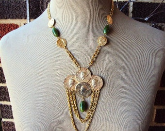 Vintage Necklace Coin Medallion Beaded Pendant Chain Necklace Tribal Design Statement Chunky Costume Jewelry Emerald Green Beads