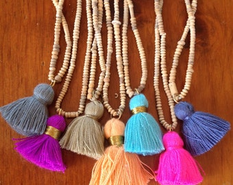 Tassel Necklace with African Clay Beads