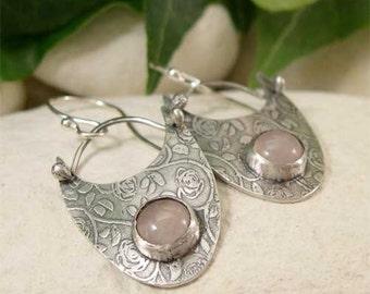 Rose Quartz Dangle Earring, Sterling Silver Romantic Rose & Pink Gemstone Earrings, Hand Forged Artisan Jewelry, Hippy Bohemian Jewelry