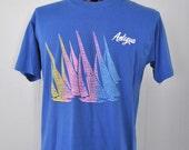 Vintage 80s Antigua TShirt Neon Royal Blue Sailing Surf Pink California Florida Tee 80s LARGE