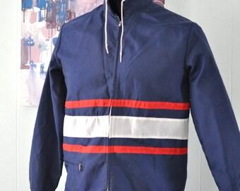 Amazing 60s 70s Vintage Jacket Windbreaker Red White Navy Blue Coat Spring Fall Summer Unisex Short Medium