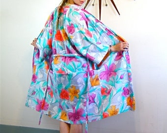 Vintage Cotton Bathrobe Neon Floral Robe by Donna Beth Gray Bright Aqua Orange Pink Yellow Flowers Dressing Gown House Coat Loungewear