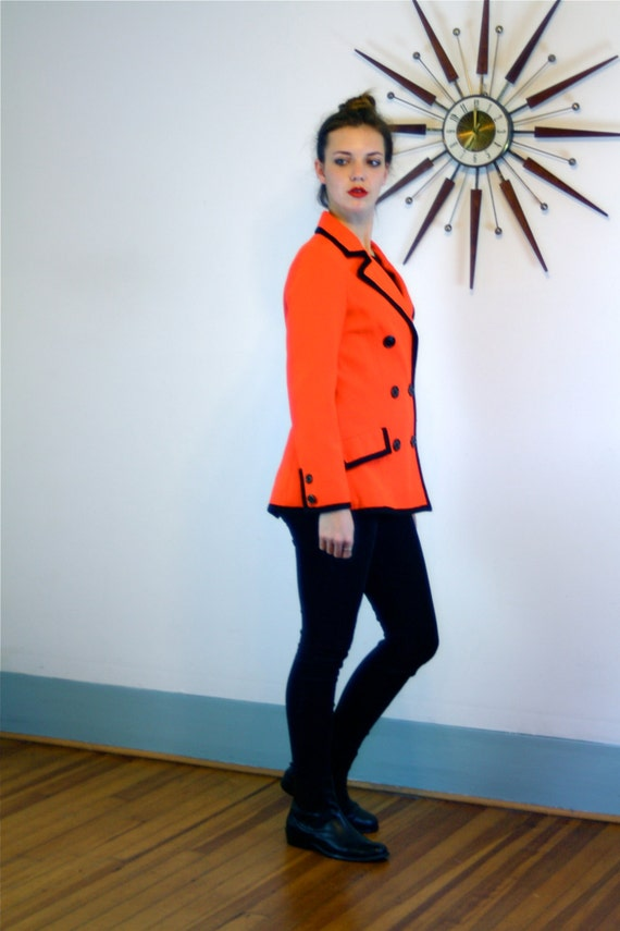 1960s Red Riding Jacket/ Bright Orange Short Coat/ Ladies Wool Blazer/ Women's Foxhunting Coat/ Vintage 70s Equestrian/ English Style Jacket
