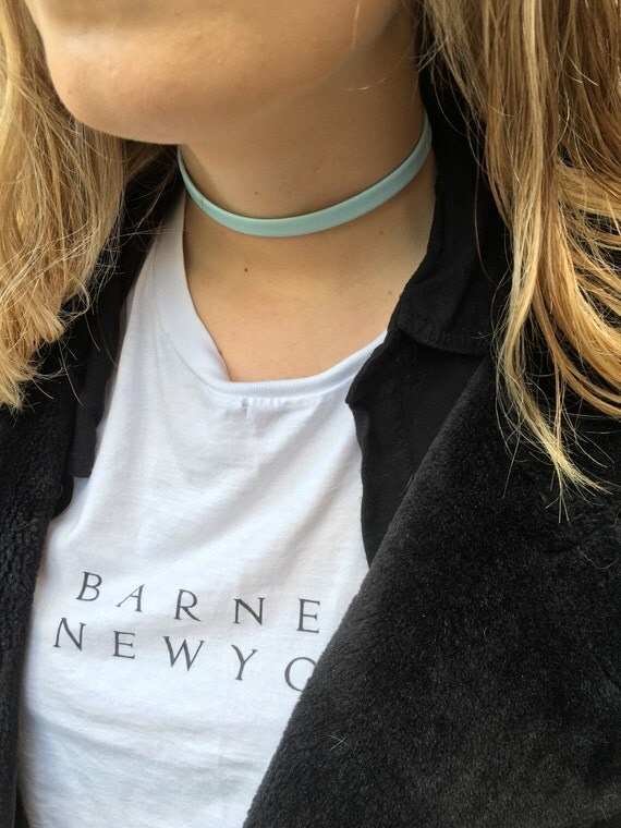 Baby blue leather choker