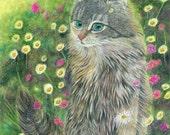 cat painting digital art print - Hippie, Bohemia, Love, Cat - wildflowers garden cat lover's gift boho shabby chic decor wall art