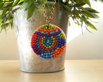 Colorful  hipster boho geometric beads turquoise  wood pendant necklace