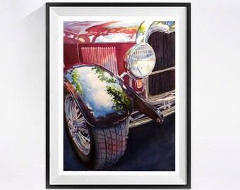 Vintage  Car Art ,  Watercolor Print,  Red vintage car  Collectible car painting Auto Art, Realism Art, Man Cave Ideas Watercolorbymuren