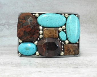 Turquoise And Chocolate Brown Belt Buckle-Large Stone Colorblock Buckle For Jeans by Sharona Nissan
