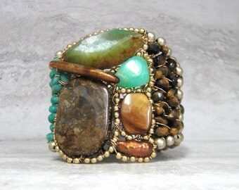 Emerald Green Agate Bracelet - Large Color Block Cuff In Bronze & Green Wired Organic Unique Jewelry by Sharona Nissan 4164B