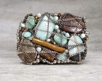Wrapped Stone Buckle- Large Asymmetrical Belt Buckle with Sky Blue & Chocolate Brown Semi Precious Stones and Sterling Silver Chain