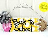 FREE SHIPPING - Back to School Pencil Door Hanger/Wall Hanger - Bronwyn Hanahan Art