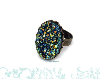 Big Faux Druzy Adjustable Ring, Green Rainbow on Black Resin Drusy, Glitter