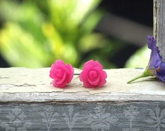 Hot Pink Rose Earrings. Mini Rosette Studs, Bohemian, Carved Look Roses, Choose Stainless Steel or Titanium Posts, 10mm, Stud Earrings