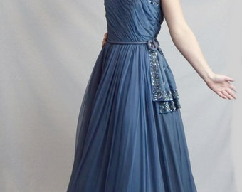 1950's Silk Chiffon Periwinkle Gown