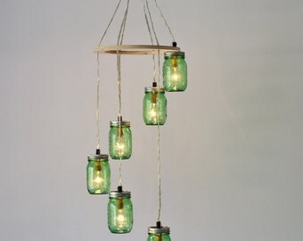 Mason Jar Chandelier Spiral, 6 Green Jars, Handcrafted BootsNGus Mason Jar Lighting Fixture, Bulbs Included