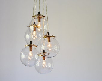 Globe Chandelier Lighting Fixture, 5 Hanging Clear Glass Bubble Orb Clustered Pendants, Modern BootsNGus Lighting, Bulbs Included