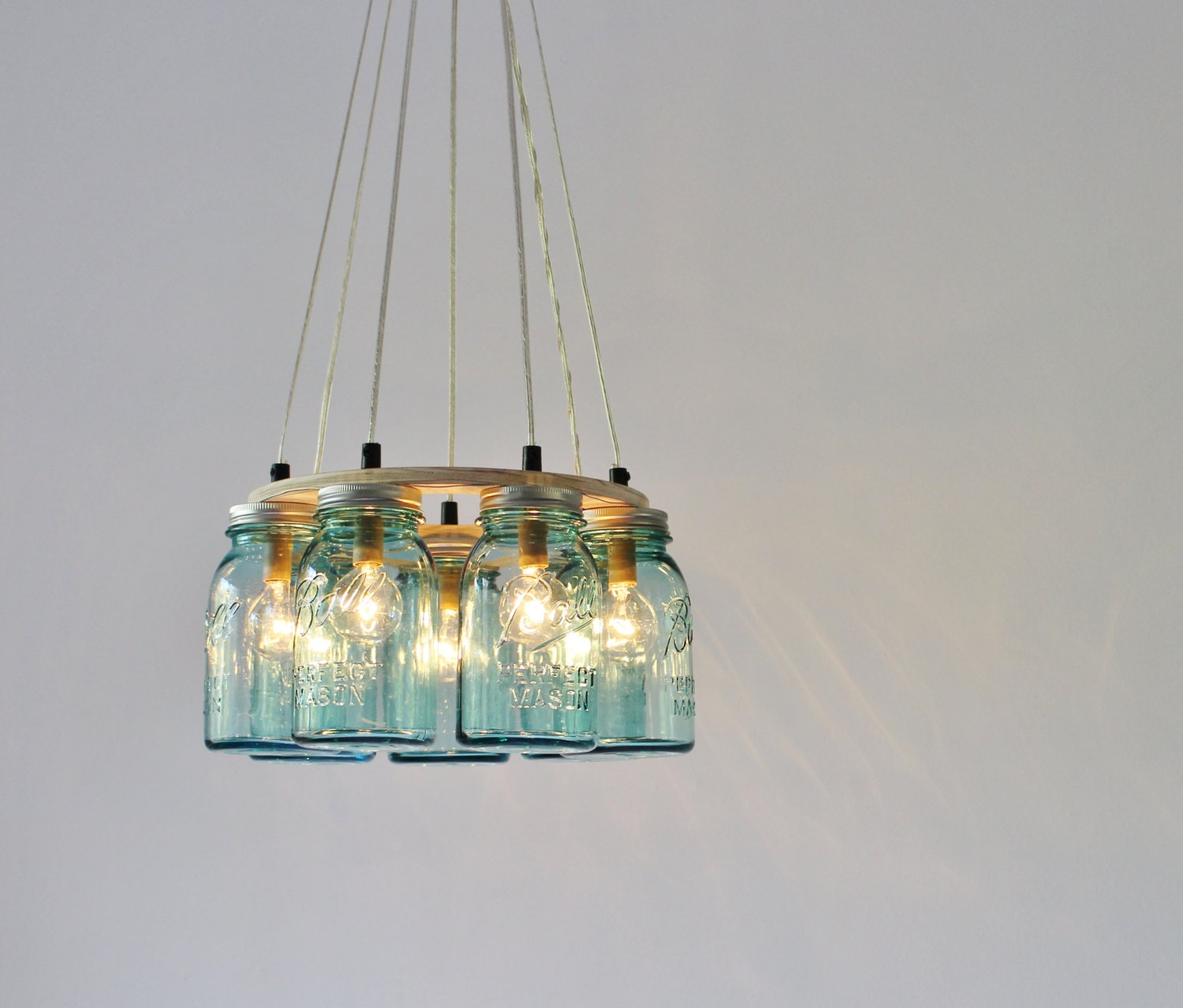 mason jar chandelier ring lighting fixture 7 antique blue. Black Bedroom Furniture Sets. Home Design Ideas