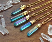 Aqua Angel Aura Quartz Gold Dipped Necklace - Rough Clear Raw Point Rainbow Pastel Crystal Blue Teal Gold Plated Chain, Natural Layering