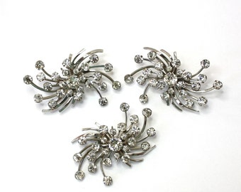 Vintage 50s Rhinestone Brooch & Earrings Set Large Swirl w Sparkling Rhinestone Clip on Backs